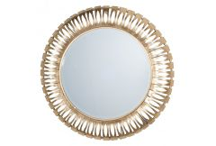 Round Metal Wall Mirror Antique Gold