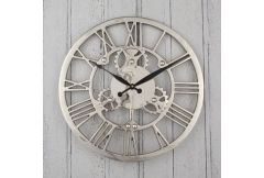 Shiny Nickel Cog Design Round Wall Clock