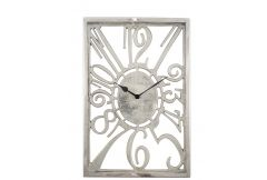 Shiny Nickel Oblong Wall Clock - Clearance