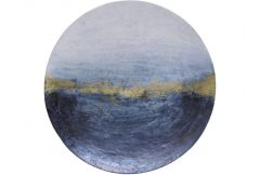 Blue & Gold Abstract Iron Wall Disc Large