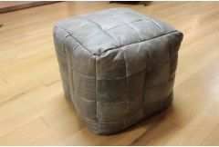 Bean Bag Cube Stool in Grey Leather