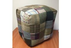 Mixed Wool Bean Bag Cube Stool