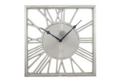 Shiny Nickel & Glass Square Wall Clock