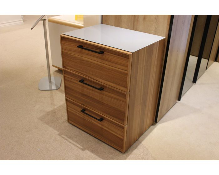 Algero 3 Drawer Chest Glass Top Clearance