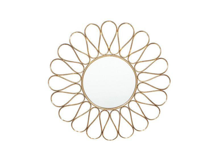 Round Wall Mirror Antique Gold Metal Petal Design